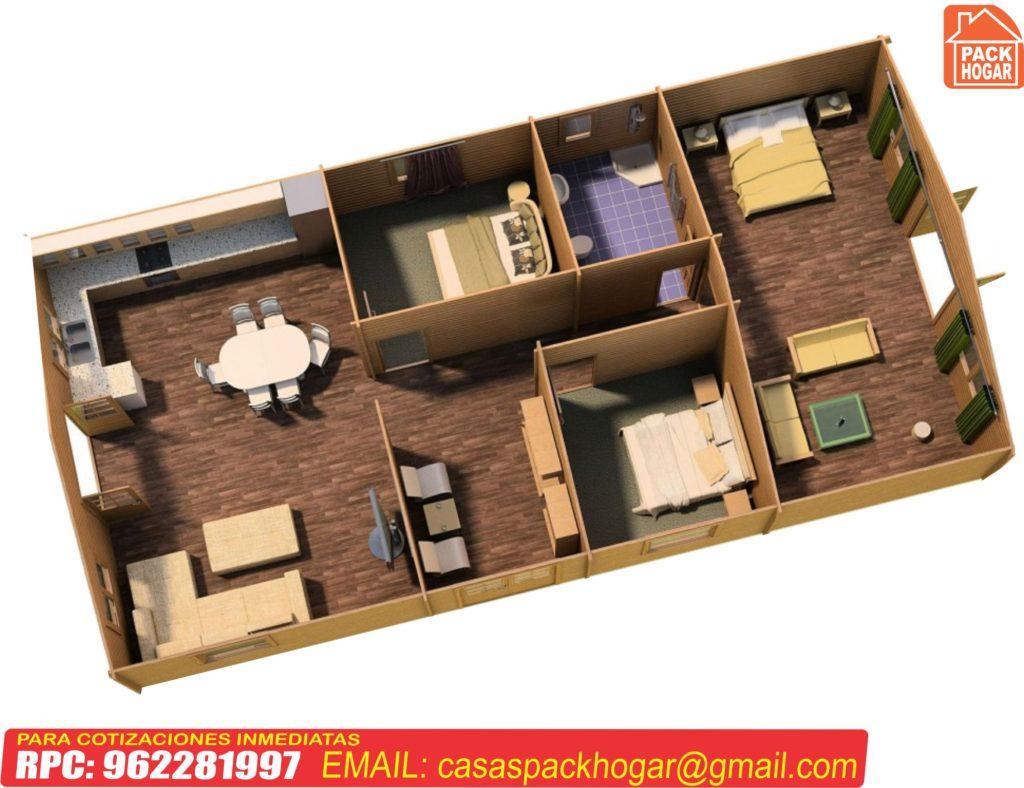 casas prefabricadas con tres dormitorios