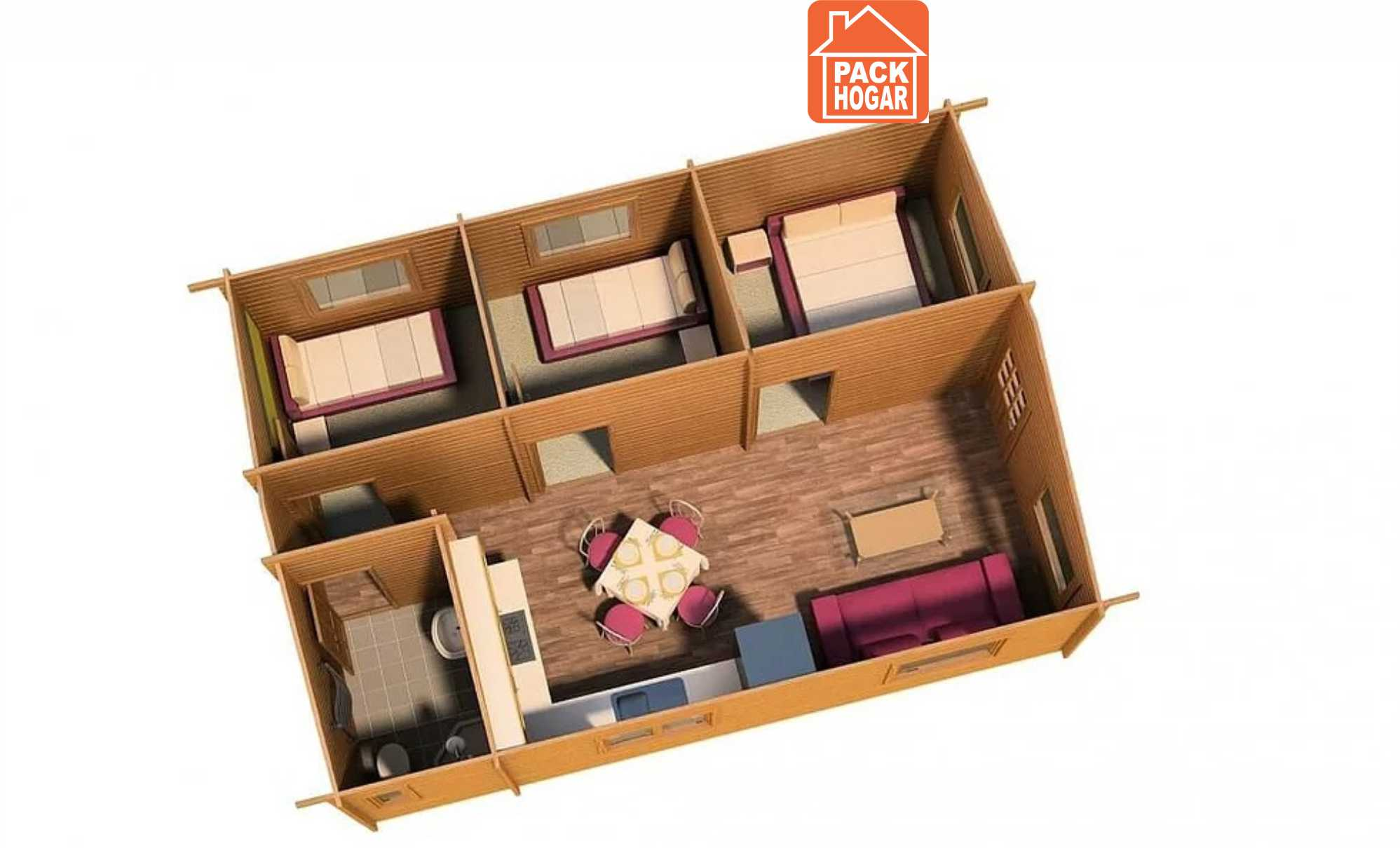 plano para casas prefabricadas de madera con tres dormitorios