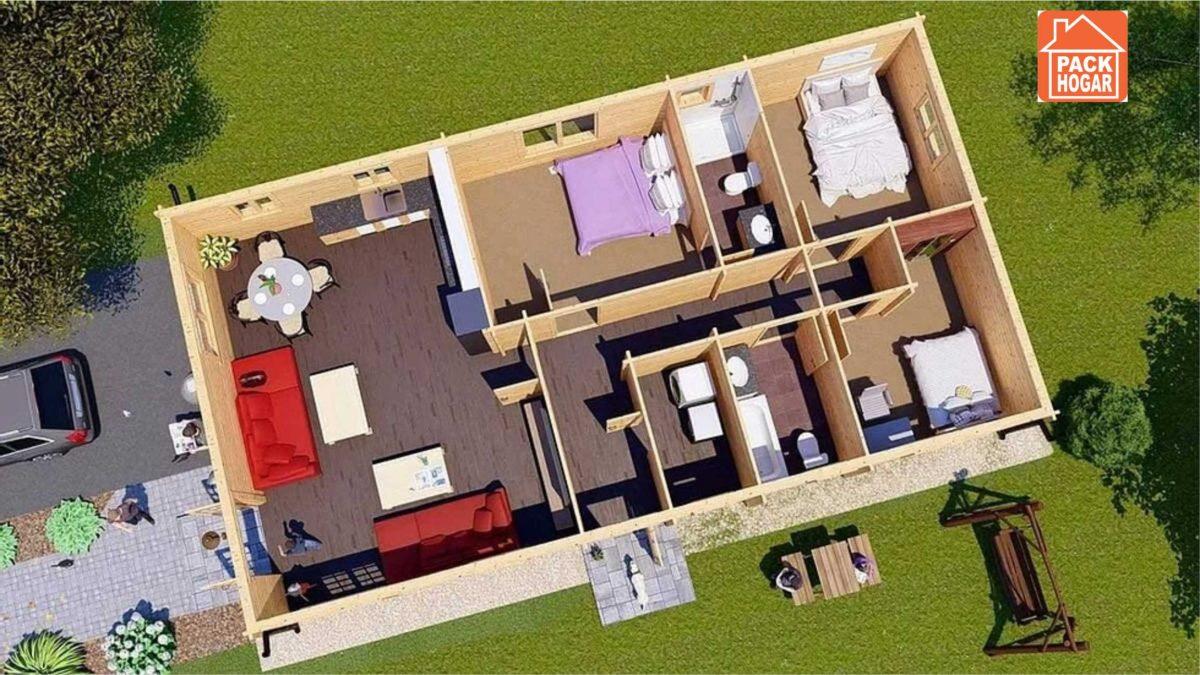 Plano de casas prefabricadas de madera con tres dormitorios