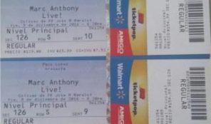Dos taquillas concierto Marc Anthony, 330.00