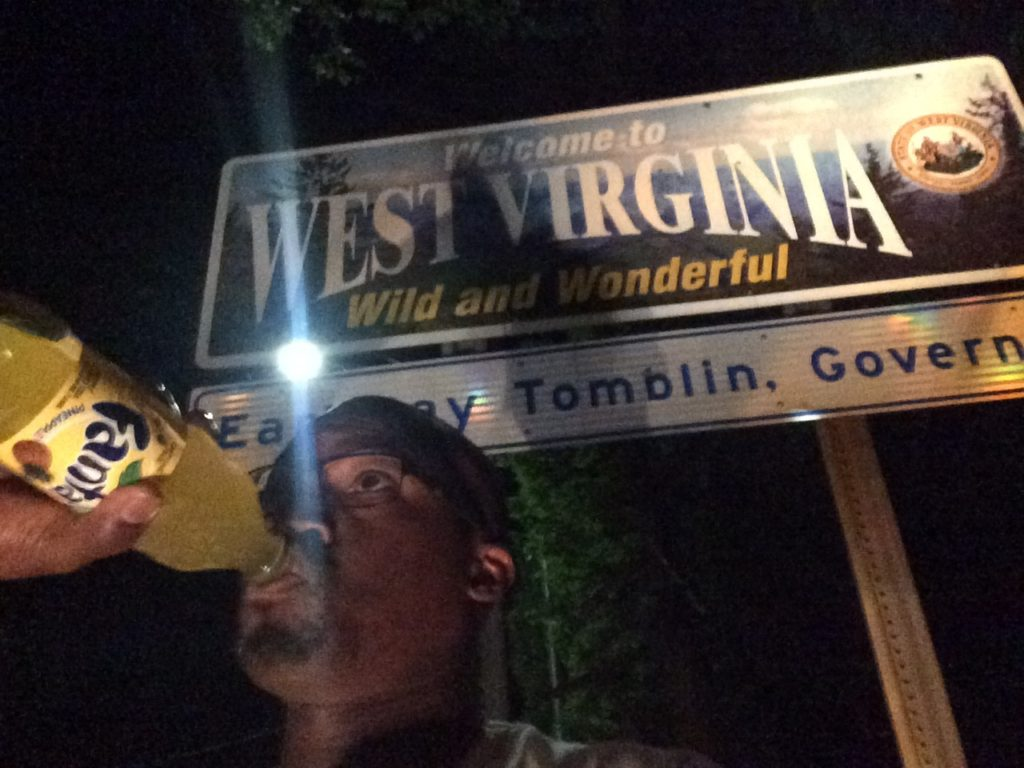 Creepiest selfie taken this trip. Snapped at 1:30am at the West Virginia-Virginia border.