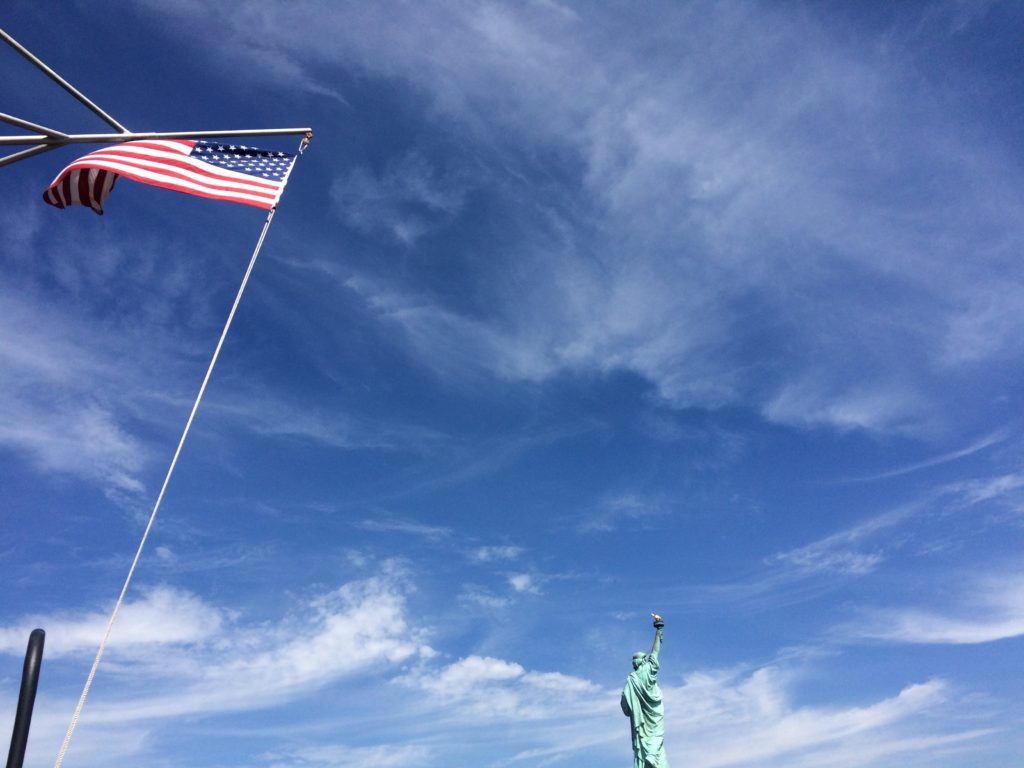Flag and Statue