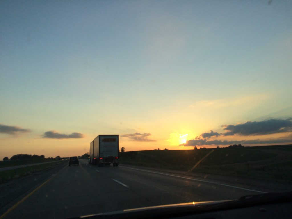Iowa sunset with clear sky