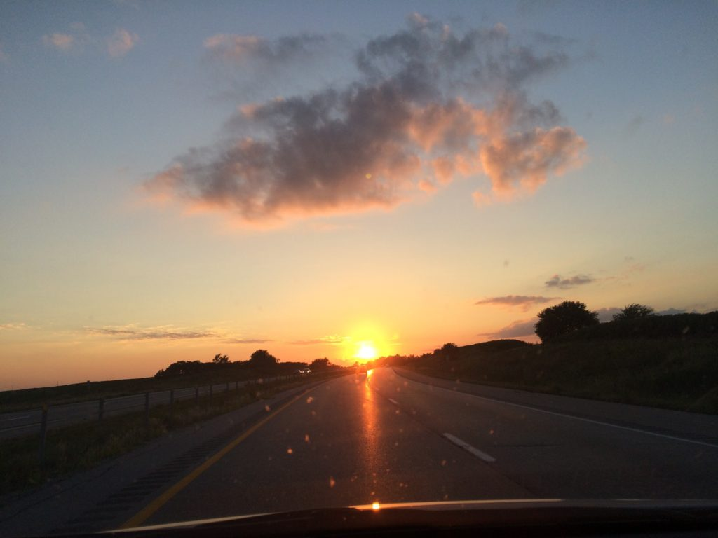 Iowa sunset with beautiful clouds