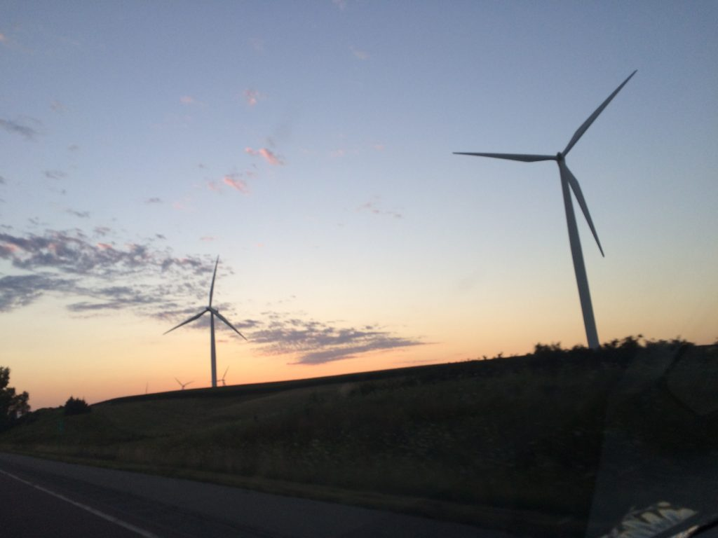 Iowa sunset with Wind Farm