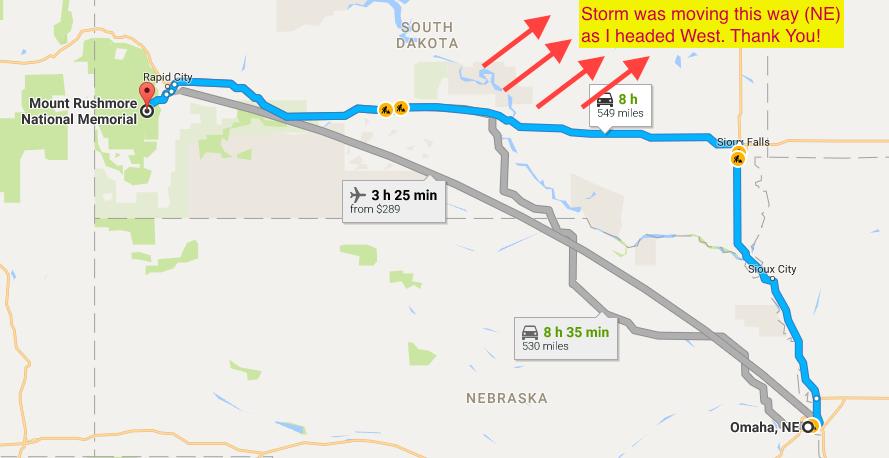 Google Maps - Nebraska to South Dakota