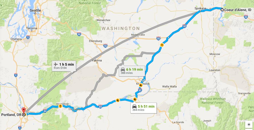 Google Maps: Idaho to Washington to Oregon