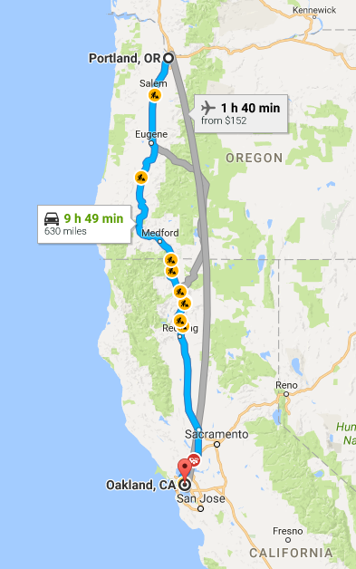 Google Maps: Portland, OR to Oakland, California
