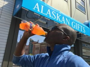 In Downtown Anchorage with my Fanta