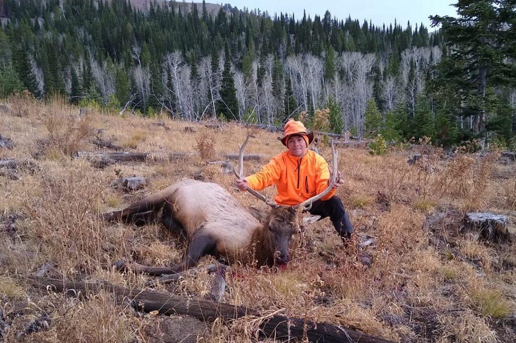 Veteran John Schumer with an opening day bull elk