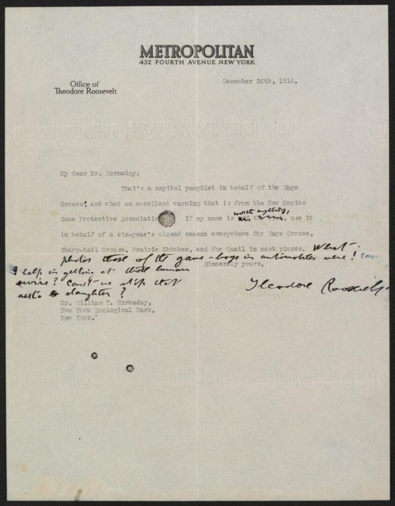 roosevelt letter to hornaday