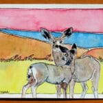 18 Jenny Reeves-johnson ALWAYS WATCH watercolor 4X6 wood framed behind glass