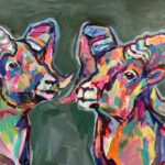 Pair of Big Horns acrylic on canvas 16 x20inches 2020 Noelle Weimann