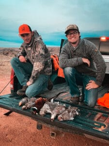 Hunters near Sheridan celebrate their upland birds taken on a local Walk In Area. Photo courtesy of Mason Parcus.