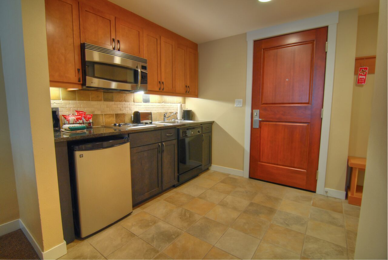 one bedroom kitchenette kitchen gold