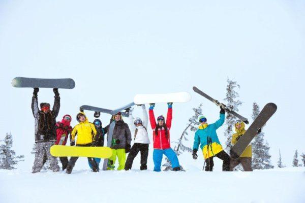 stock photo snowboarders