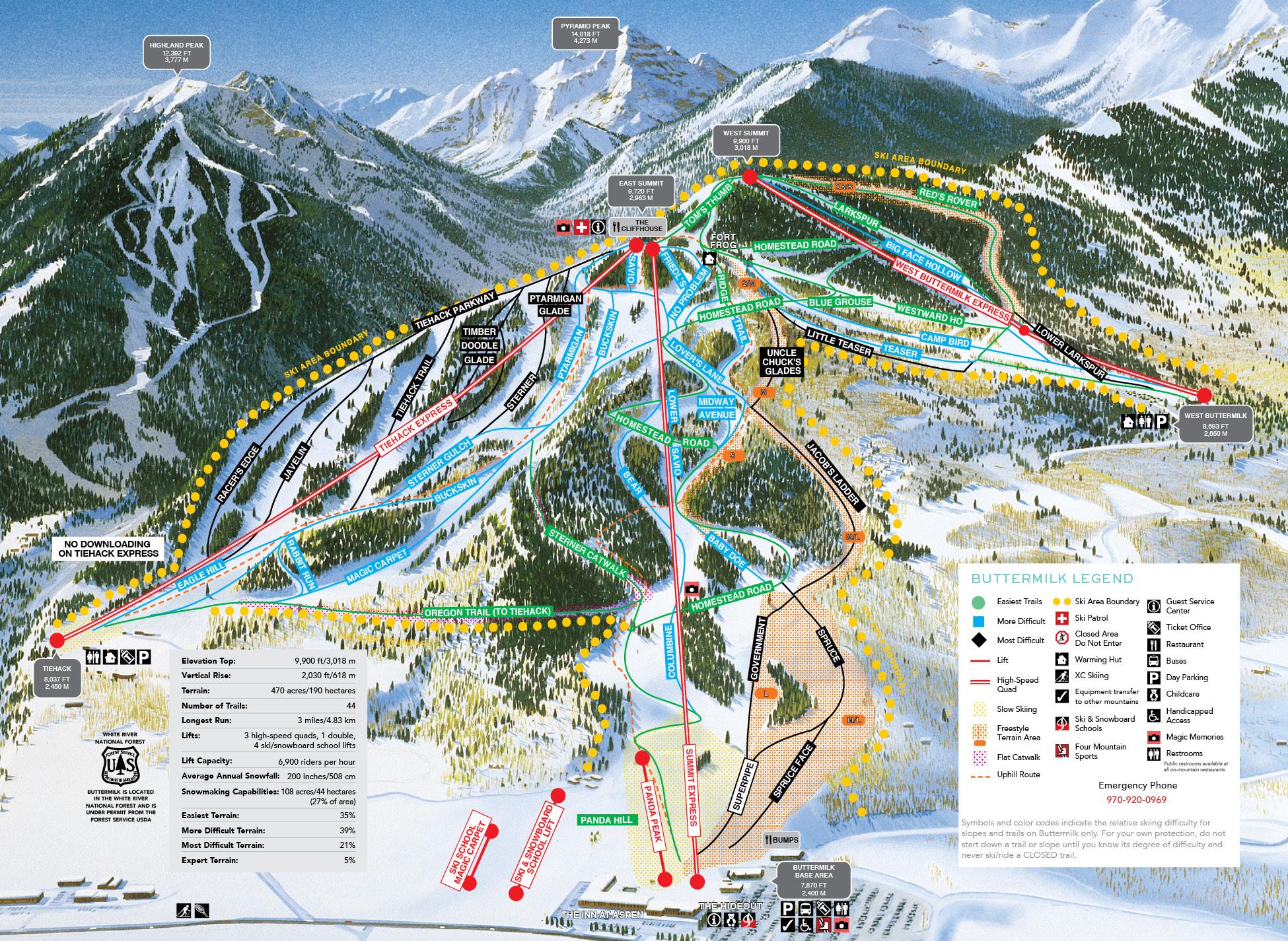 Aspen Buttermilk Trail Map