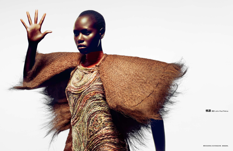 Sudan native Ajak Deng in this month's Numéro China