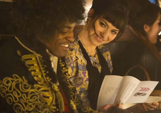 Andre 3000 as Hendrix, is in this scene opposite Imogen Poots, playing model and muse Linda Keith, onetime girlfriend of Keith Richards, who inspired songs from both men.