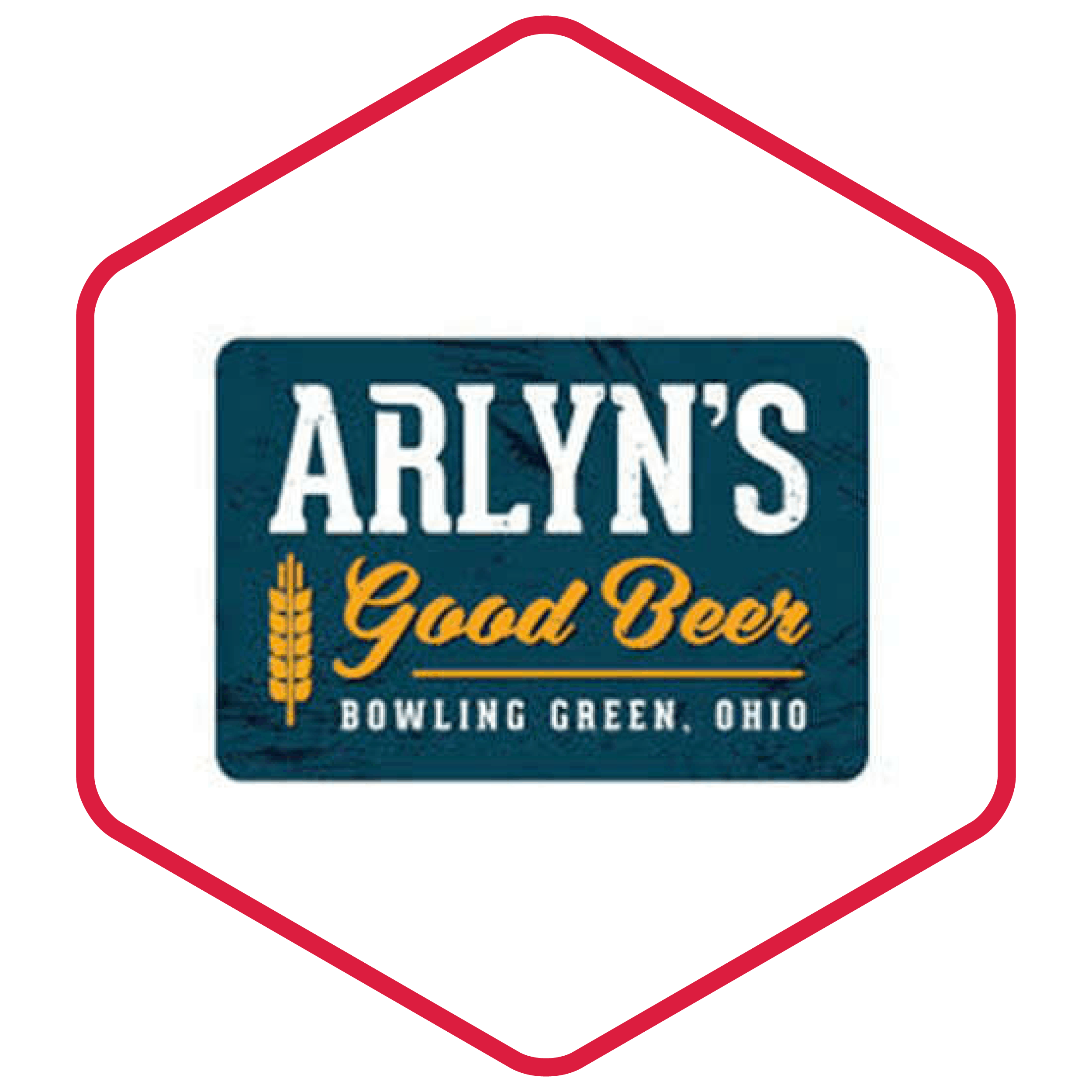 image of Arlyn's logo with in a hexagon with a red border