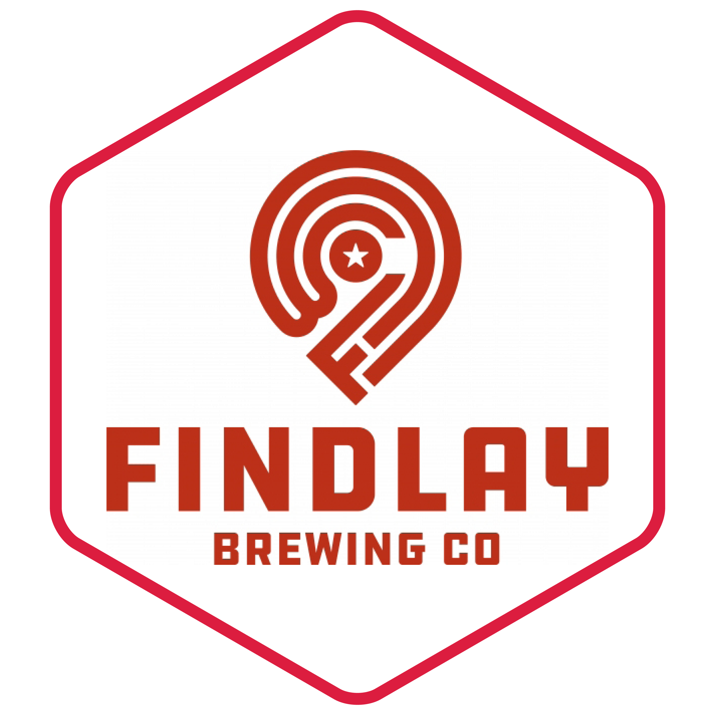 findlay brewing logo in a hexagon with a red border