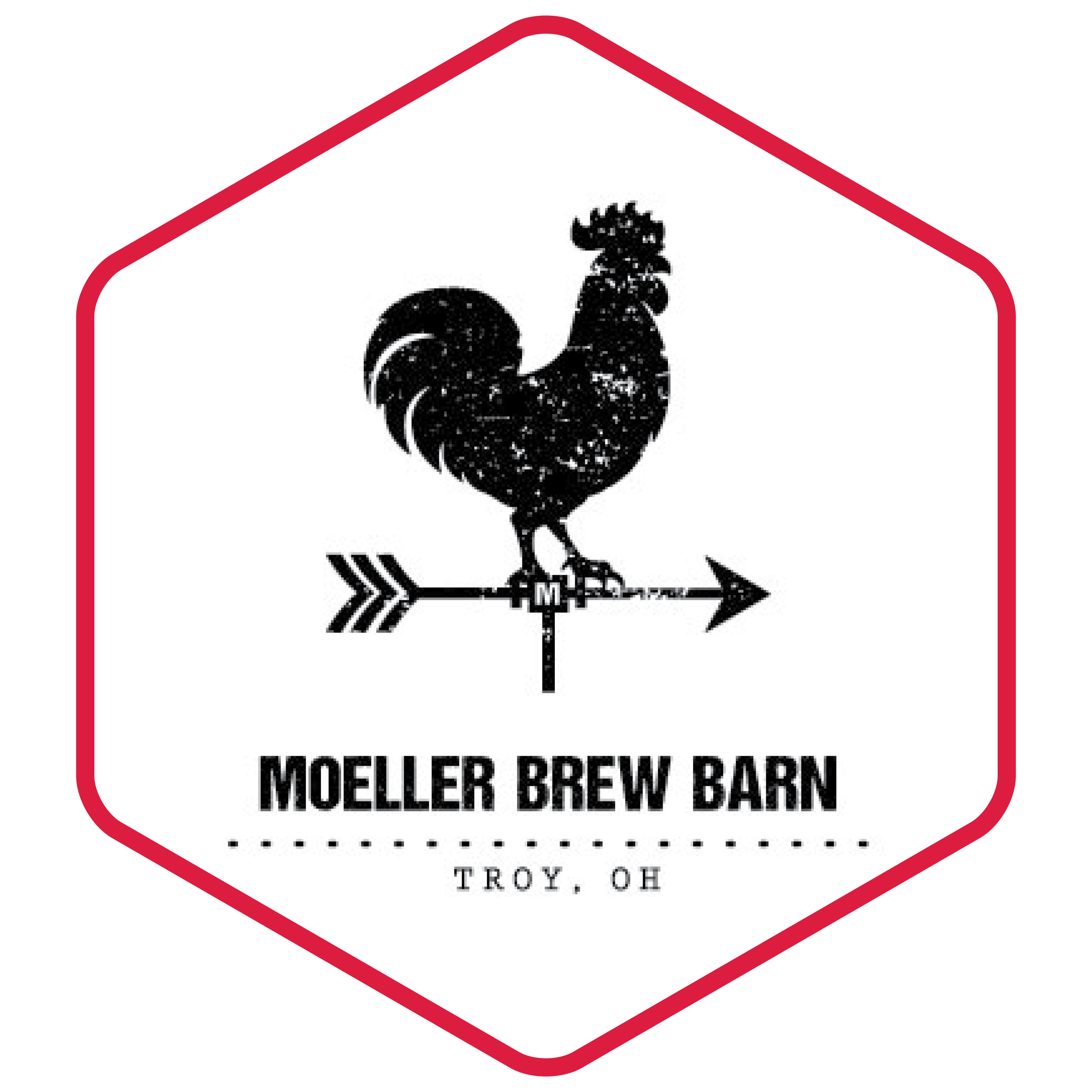 image of Moeller Brew Barn's logo with in a hexagon with a red border