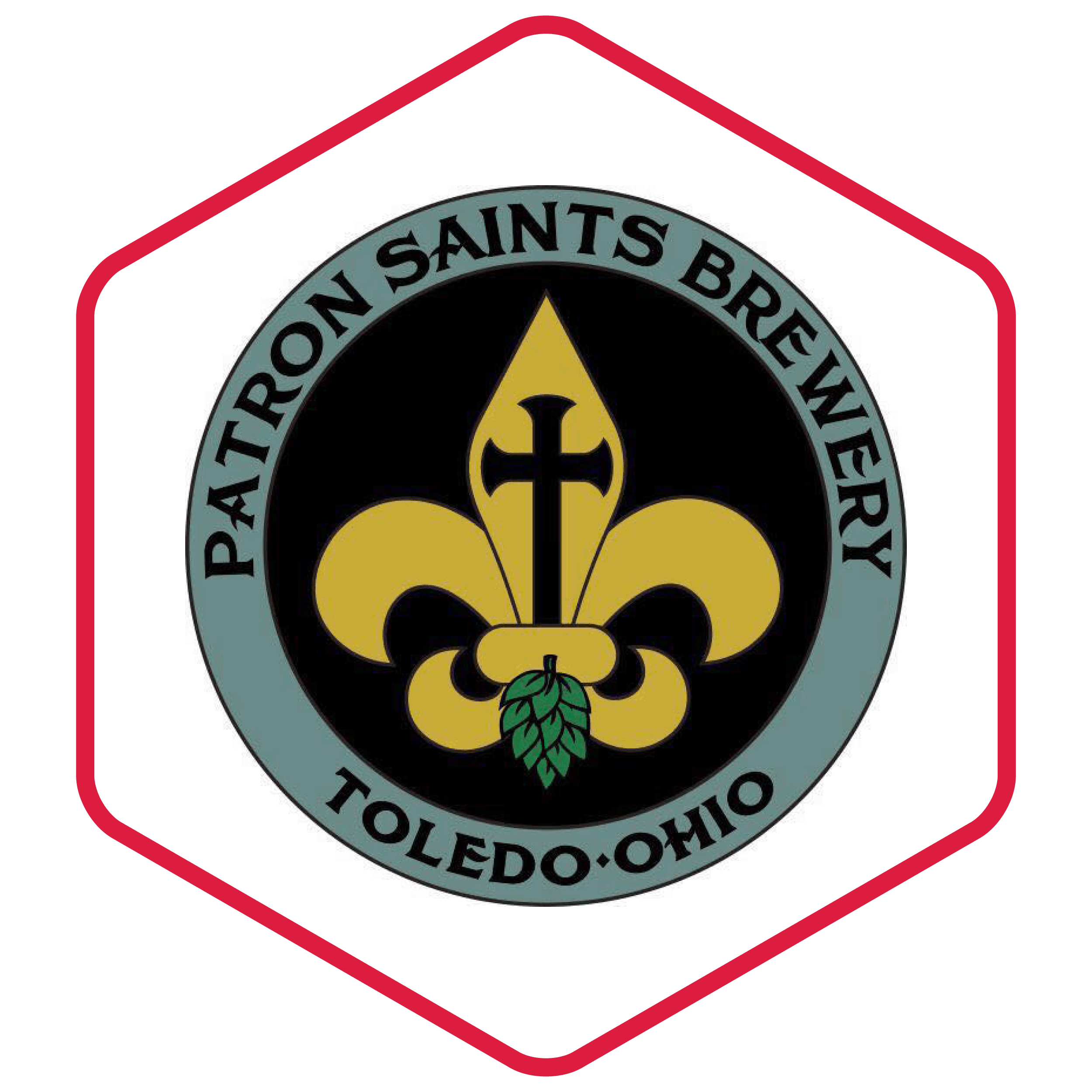 image of Patron Saint's logo with in a hexagon with a red border