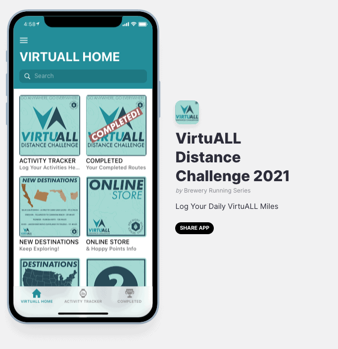 Virtuall Distance Challenge tracker app