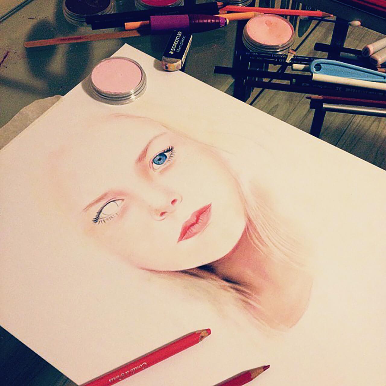 Colored Pencil + Copic Pen + Pan Pastel