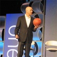 Cisco's Andrew Sage and his connected baseketball on stage at One Ingram Micro