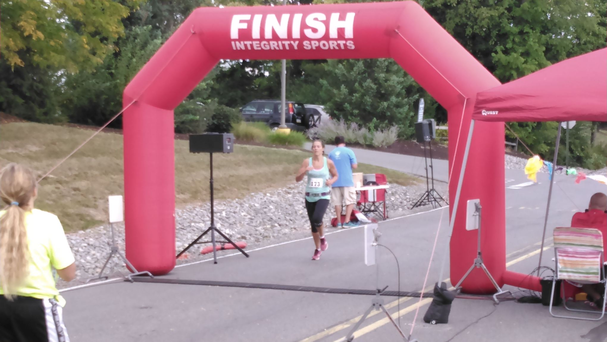 Ashley completing her first race second in her age category