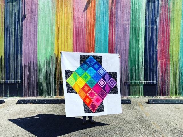 Rainbow Triangle BOM, modern triangle quilt, Rebecca Bryan