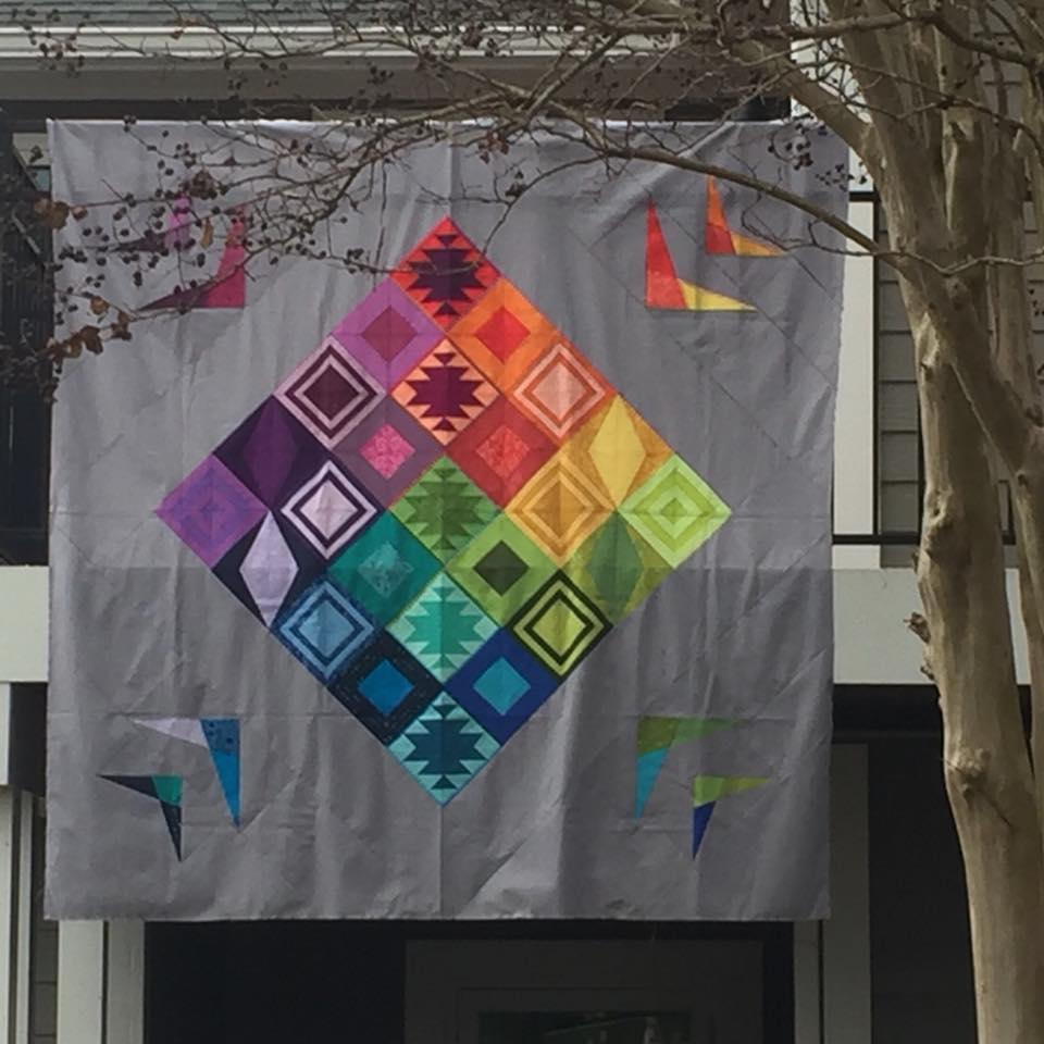 Rainbow Triangles BOM quilt by Susan Torchia