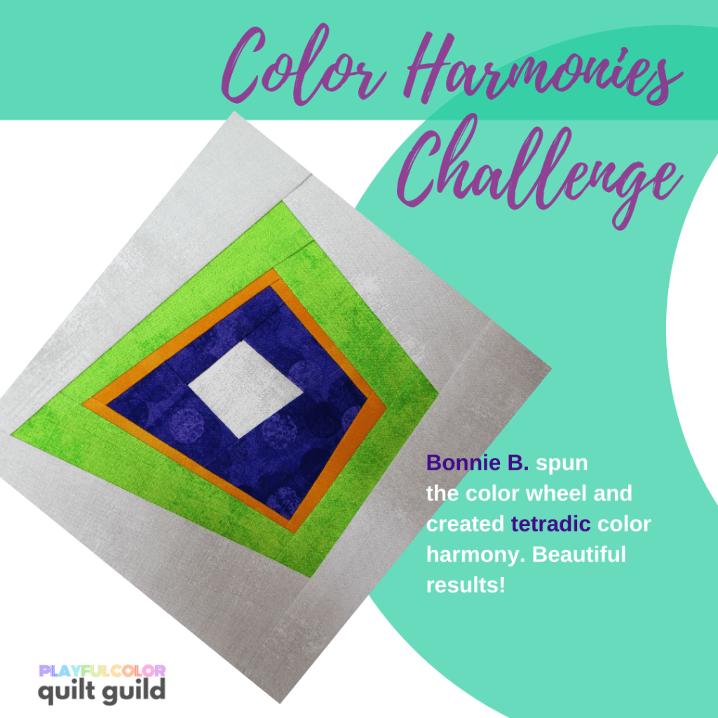 Photo of a quilt block made with lime green, purple/blue, and orange fabric with a gray background. Shows an example of a tetradic color harmony.