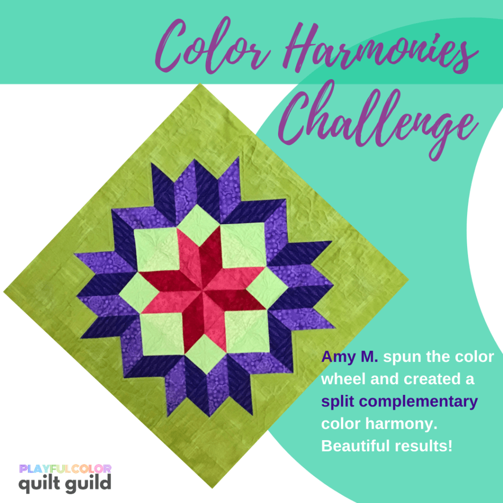 A quilt block made with violet, red and green fabrics.