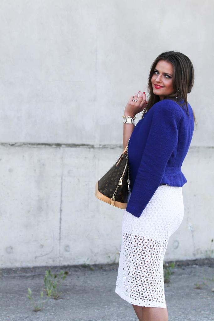 #OOTD // White Crocheted Skirt & Cobalt Blue Blazer | BondGirlGlam.com