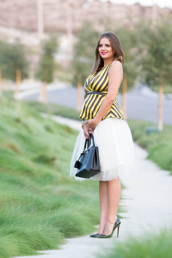 #BumpStyle // Tulle Skirt & Striped Halter Top | BondGirlGlam.com