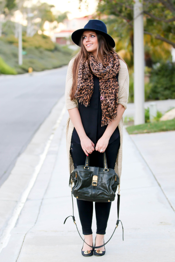 #OOTD // Fedora, Leopard Scarf, & Distressed Skinnies | BondGirlGlam.com