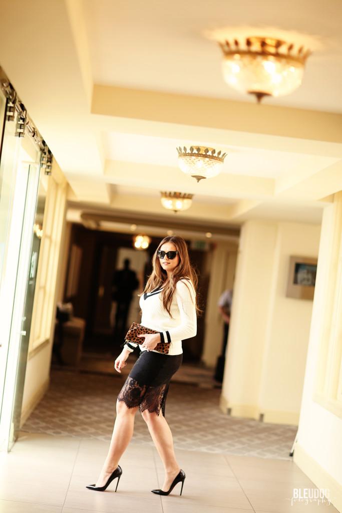 #OOTD // Varisty Sweater & Lace Pencil Skirt | BondGirlGlam.com