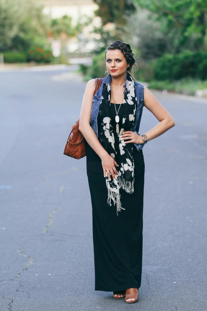 #OOTD // Denim Vest & Black Maxi Dress   BondGirlGlam.com