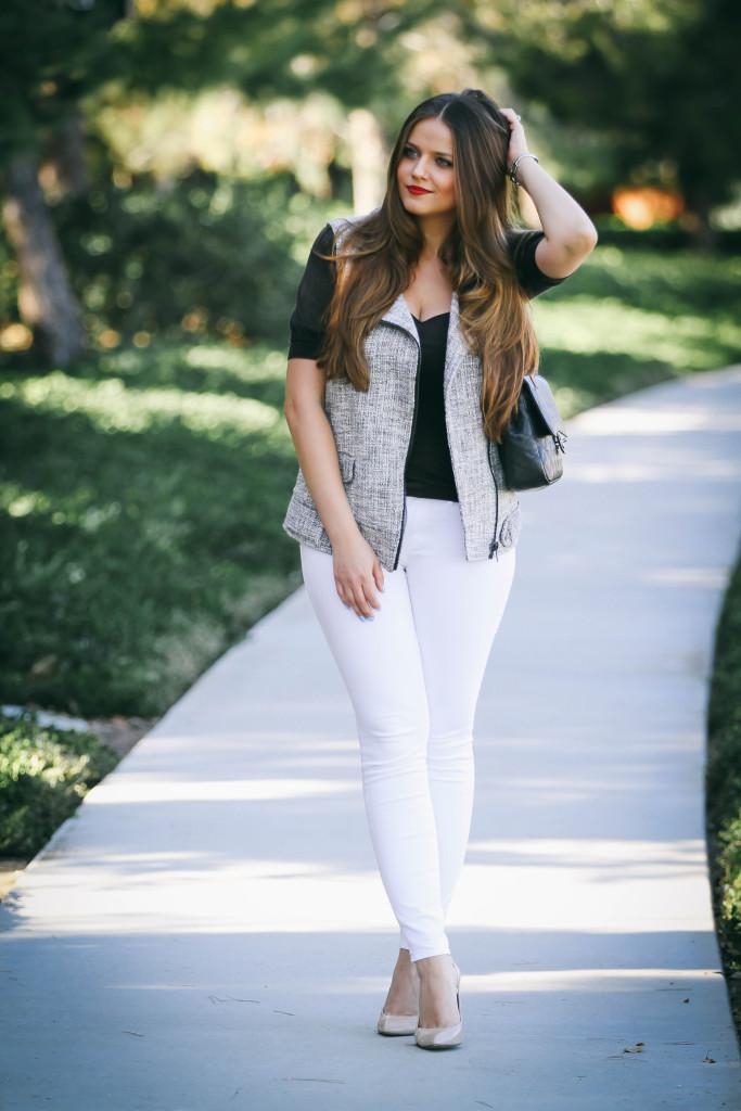 #OOTD // Tweed Moto Vest & White Skinny Jeans   BondGirlGlam.com