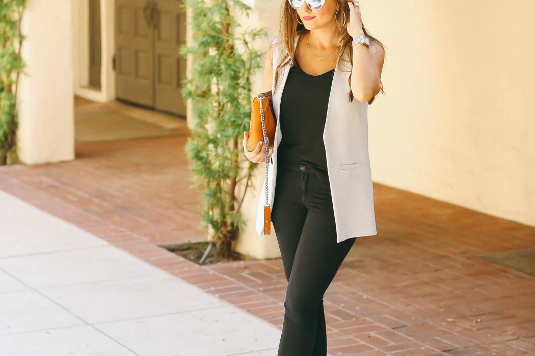 #OOTD // Light Blue Vest & Black Skinny Jeans | BondGirlGlam.com