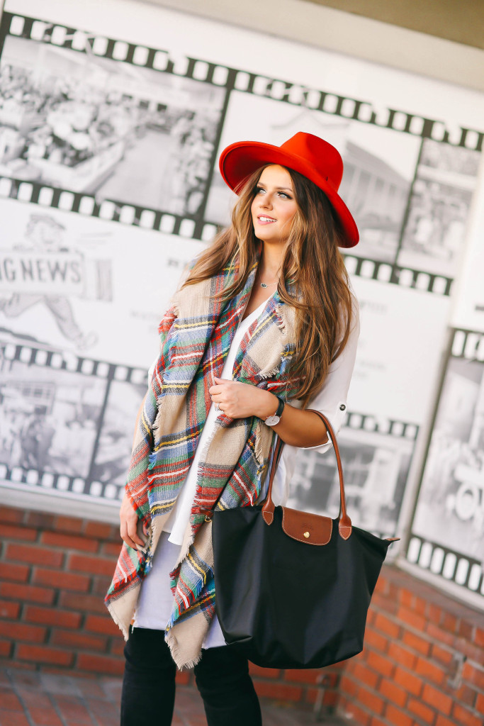 #OOTD // Plaid Blanket Scarf & OTK Boots | BondGirlGlam.com