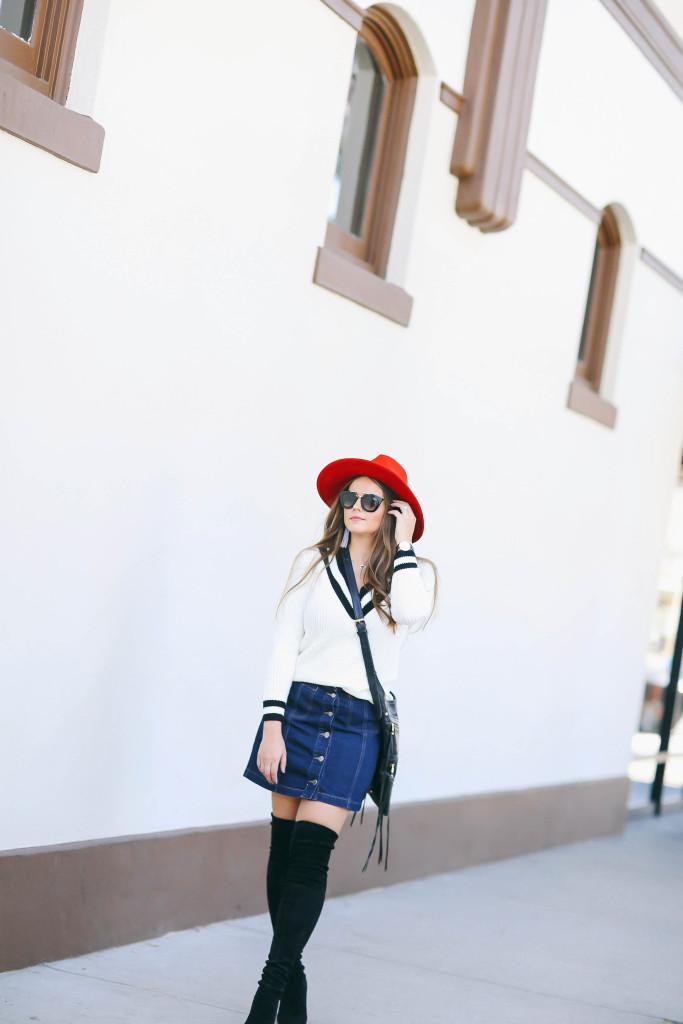 #OOTD // Varsity Sweater & Button Front Denim Miniskirt | BondGirlGlam.com