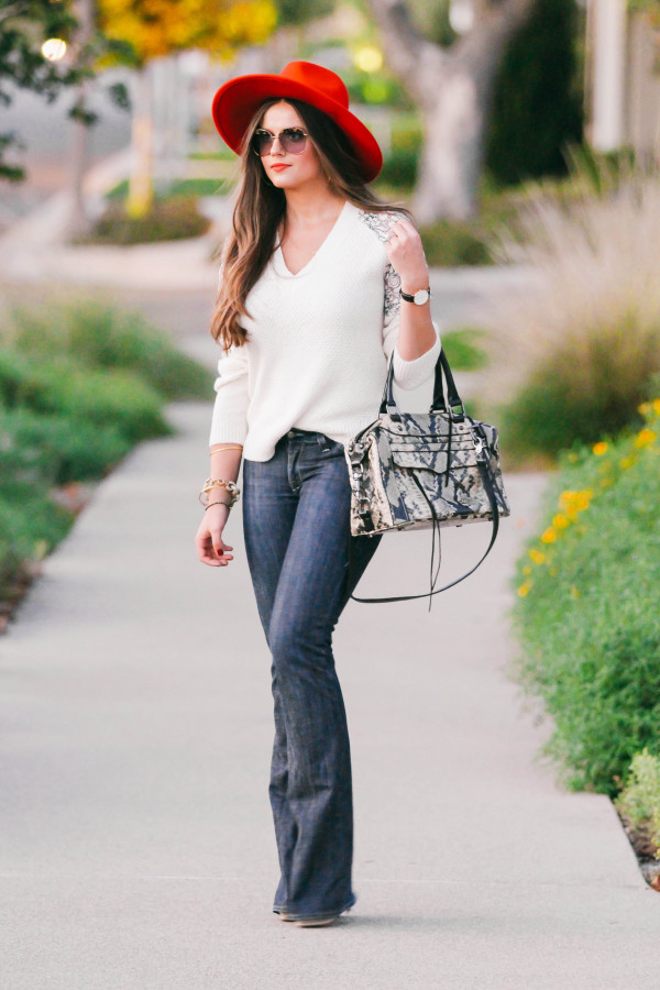 #OOTD // Lace-Detail Sweater & Flare Jeans | BondGirlGlam.com
