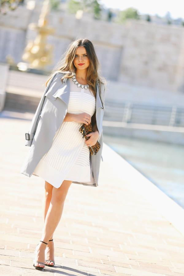 #OOTD // Blue Trench Coat & White Fit & Flare Dress   BondGirlGlam.com