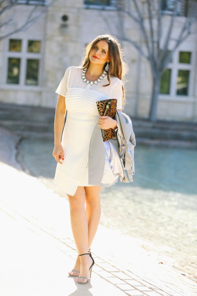 #OOTD // Blue Trench Coat & White Fit & Flare Dress | BondGirlGlam.com