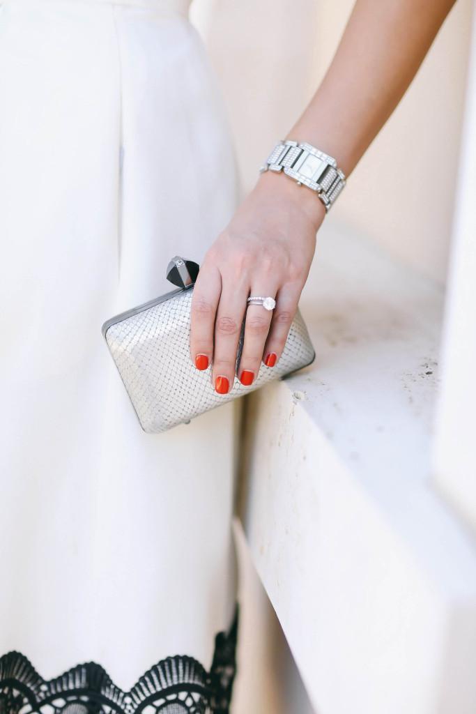 #OOTD // Beaded Black Top & Lace Ivory Midi Skirt | BondGirlGlam.com