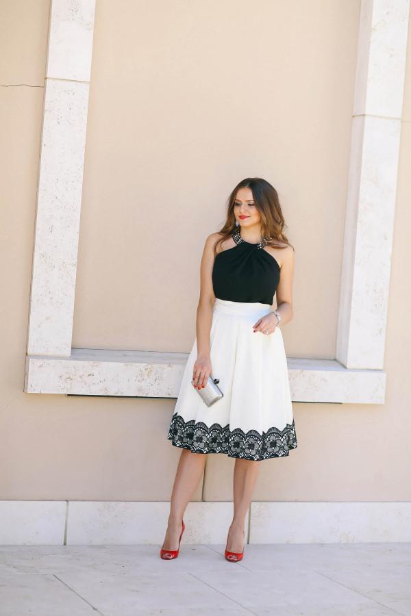 #OOTD // Beaded Black Top & Lace Ivory Midi Skirt   BondGirlGlam.com