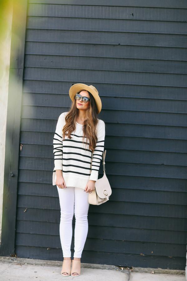 #OOTD // Striped Sweater & White Skinny Jeans | BondGirlGlam.com